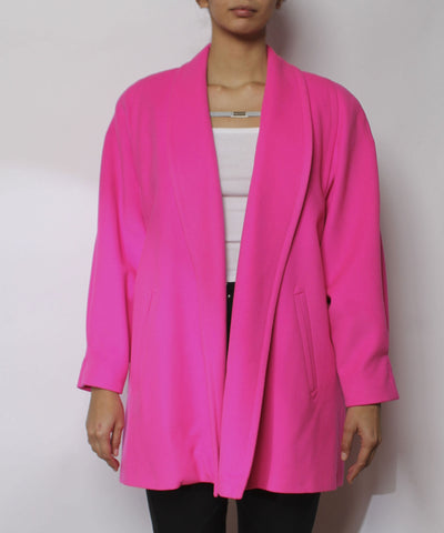 Escada 1980s Bright Fuchsia Wool Swing Coat - C.Madeleine's