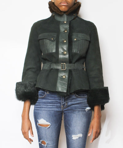 Valentino Dark Green Shearling Suede & Leather Mink Coat - C.Madeleine's