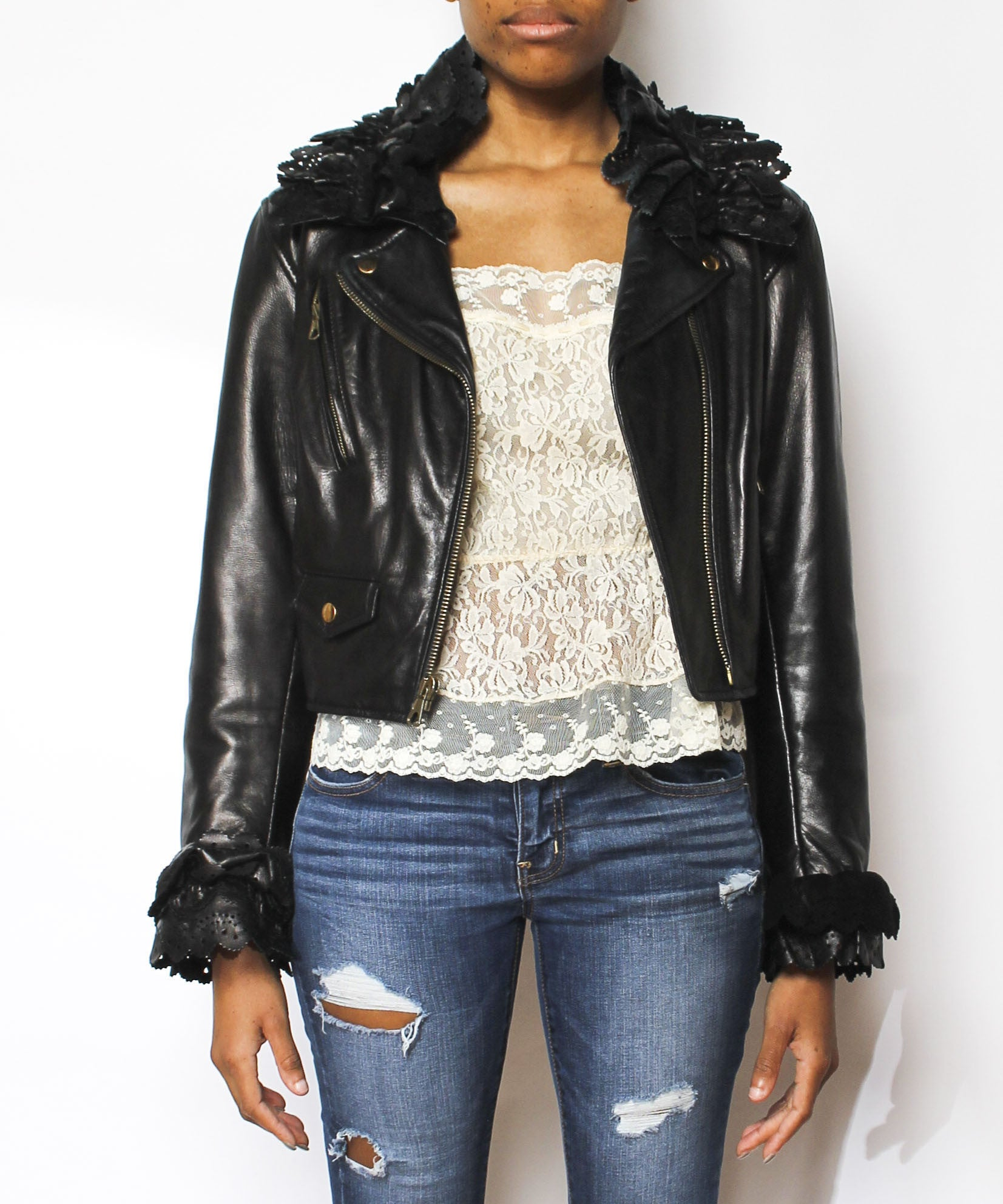 Moschino Leather Jacket with Ruffle Trim - C.Madeleine's