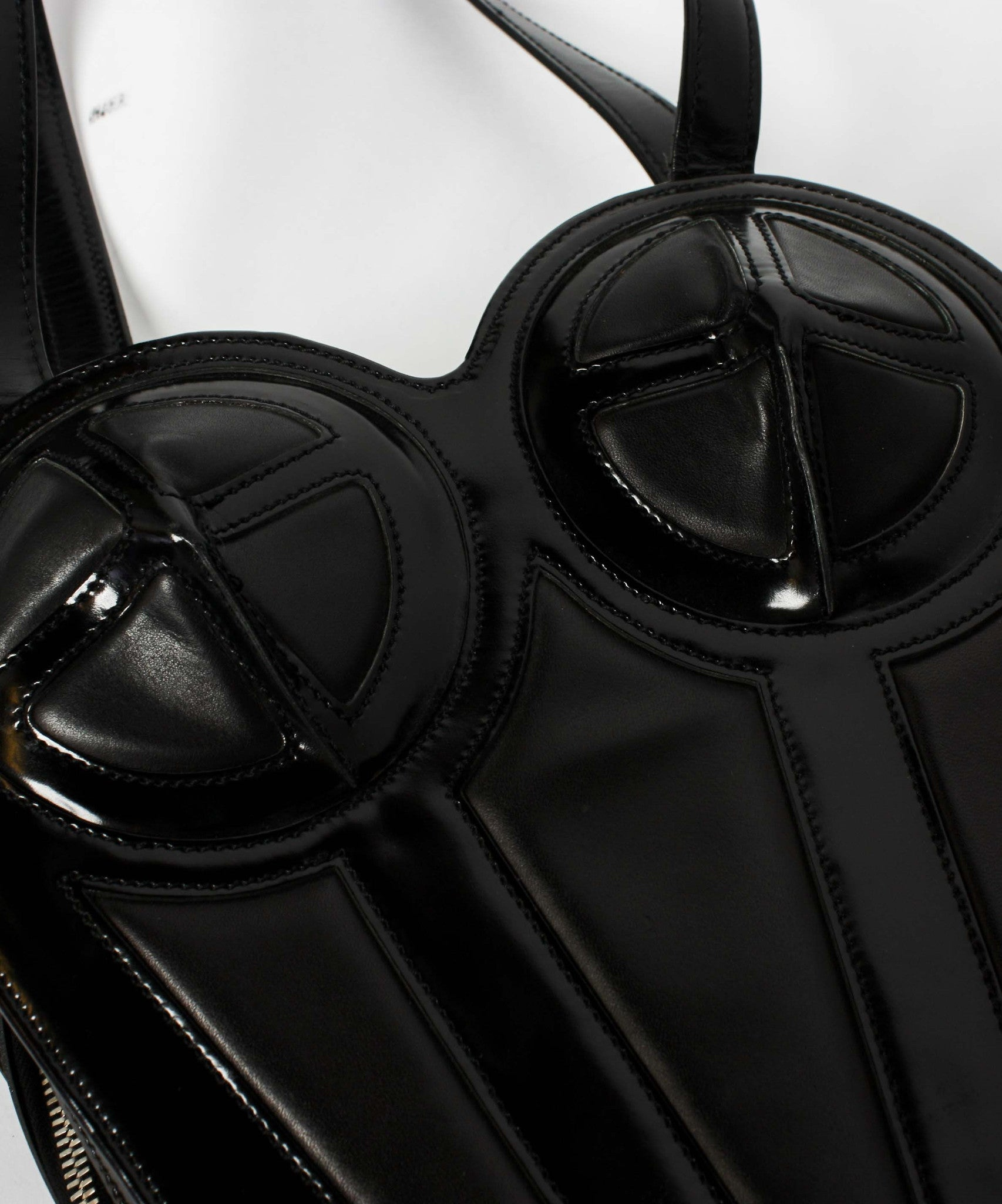 DONE - Jean Paul Gaultier 1998 Black Patent Leather Bustier Backpack - C.Madeleine's