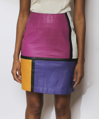 Mondrian 1980s Multicolor Leather Pencil Skirt - C.Madeleine's