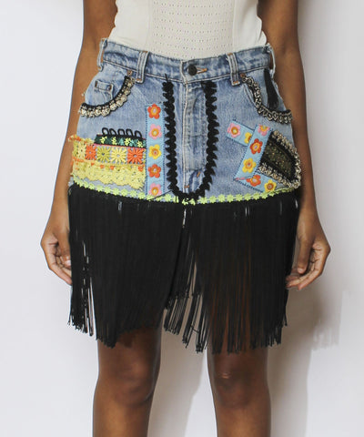 Levi's Denim Mini Skirt with Fringe - C.Madeleine's