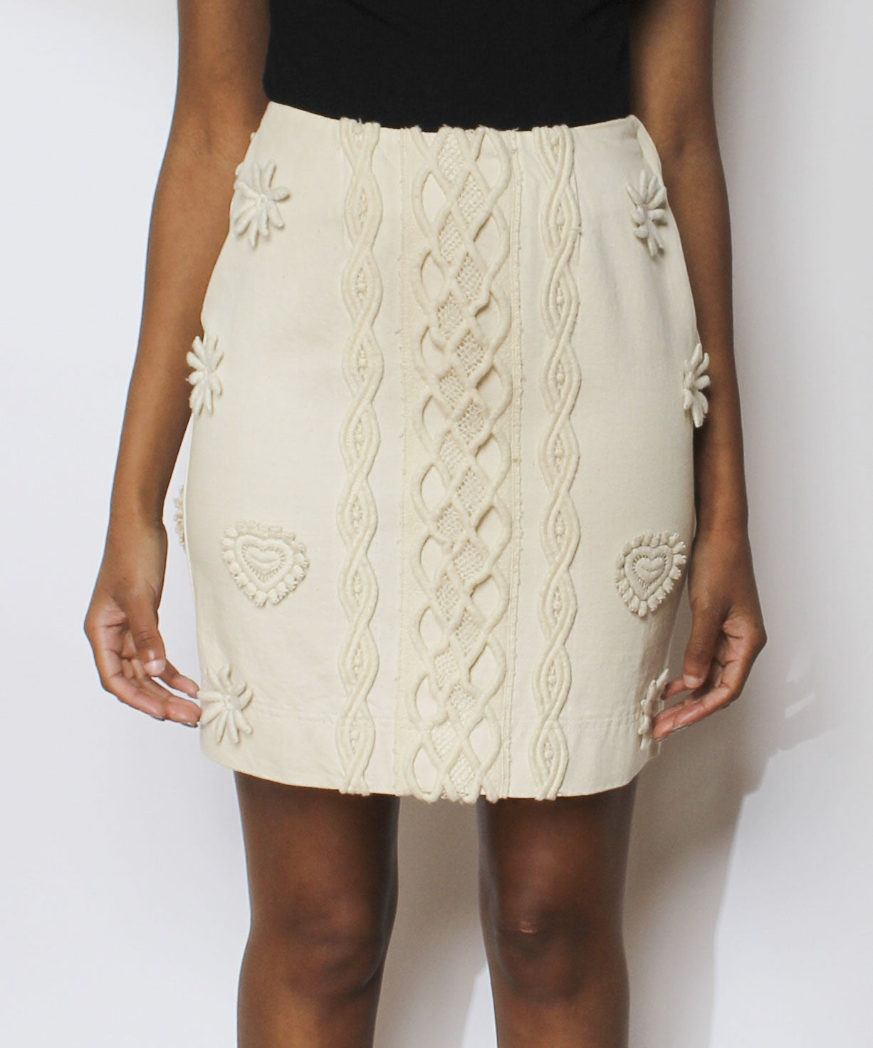 Alberta Ferretti Jeans Cream Denim Pencil Skirt with Knit Appliqués