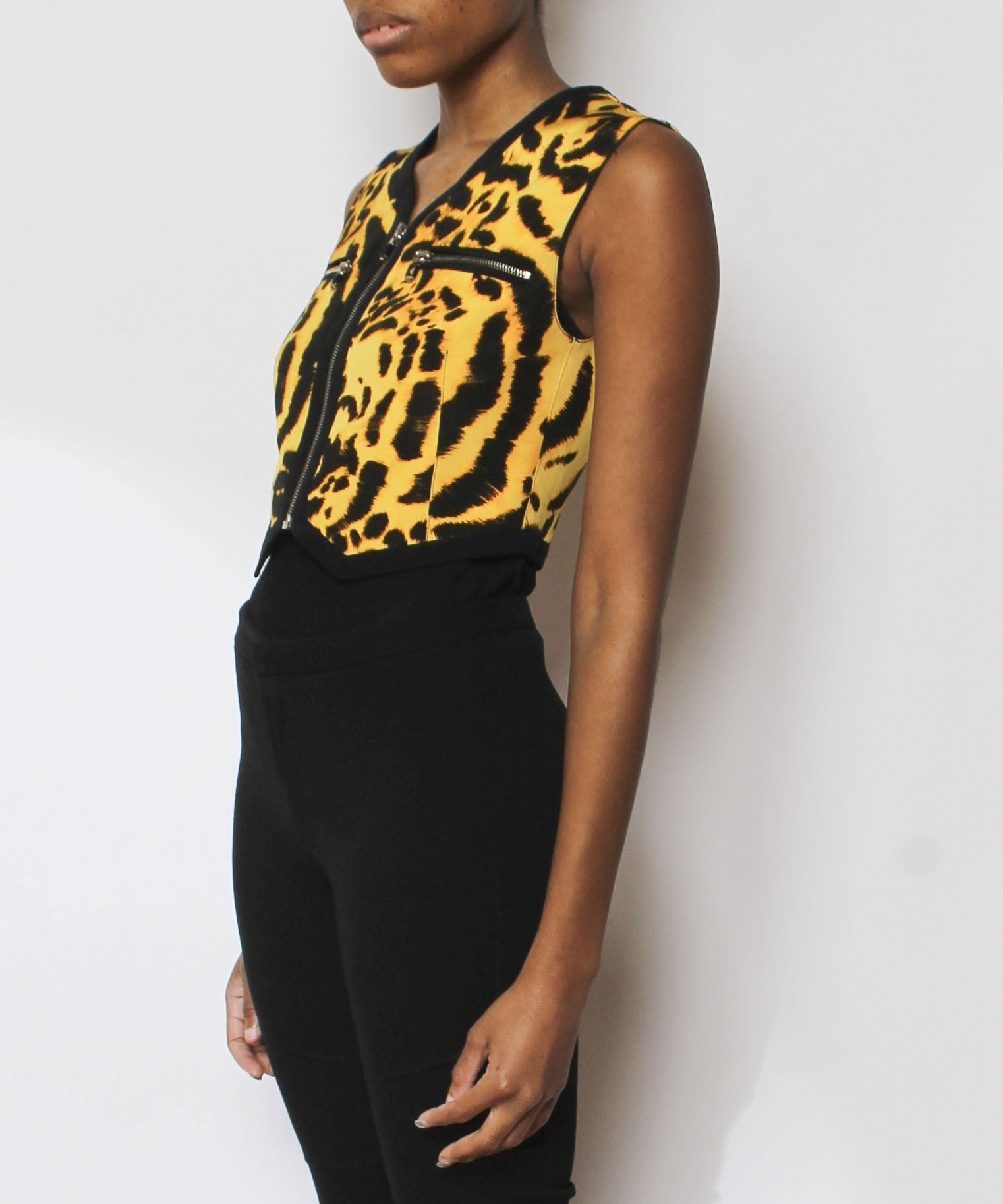 Versace Black and Gold Silk Leopard Print Vest - C.Madeleine's
