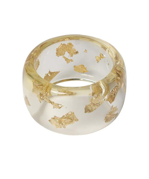 Sobral Clear Lucite with Gold Leaf Bangle - C.Madeleine's