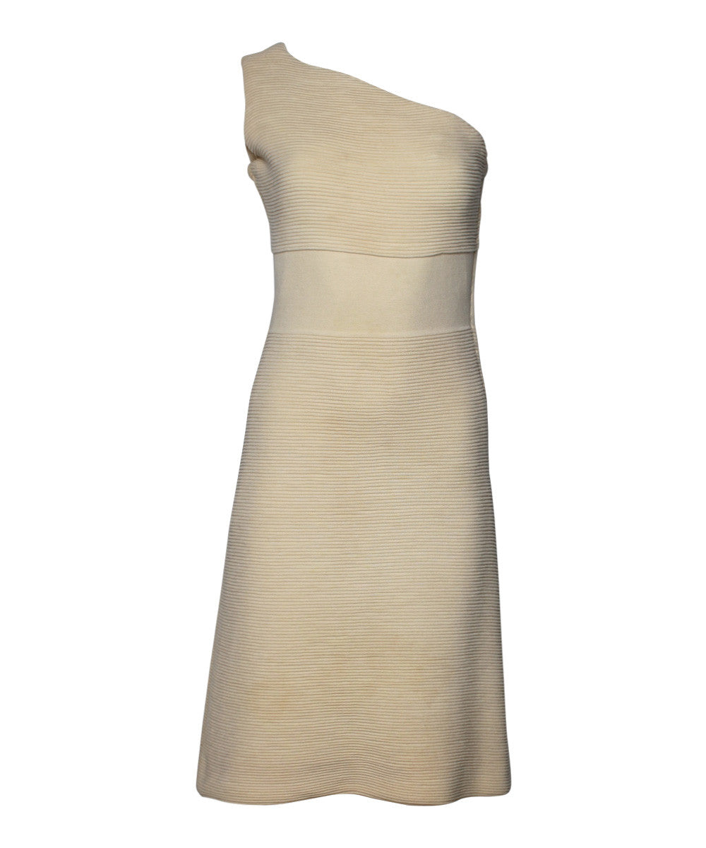 Cream Asymmetrical One Shoulder Knit Dress
