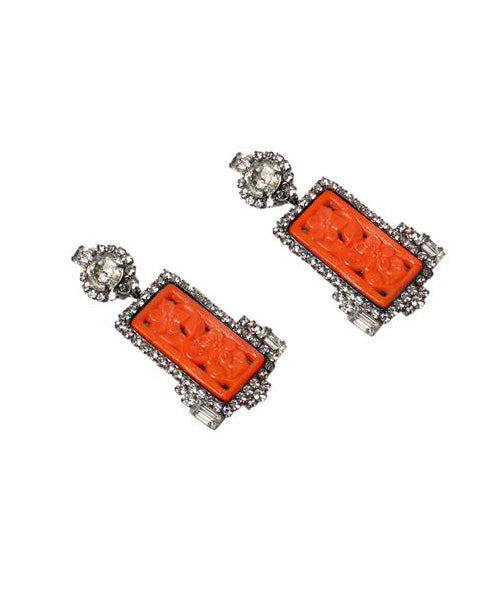 Moans Couture Coral Glass Cabochon with Clear Rhinestone Chandelier Earrings - C.Madeleine's