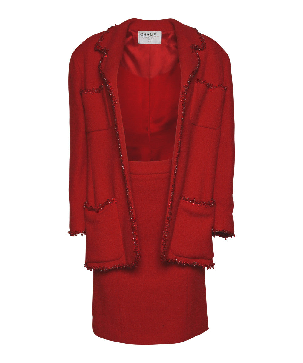Chanel Red Boucle & Bead Trim Skirt Set