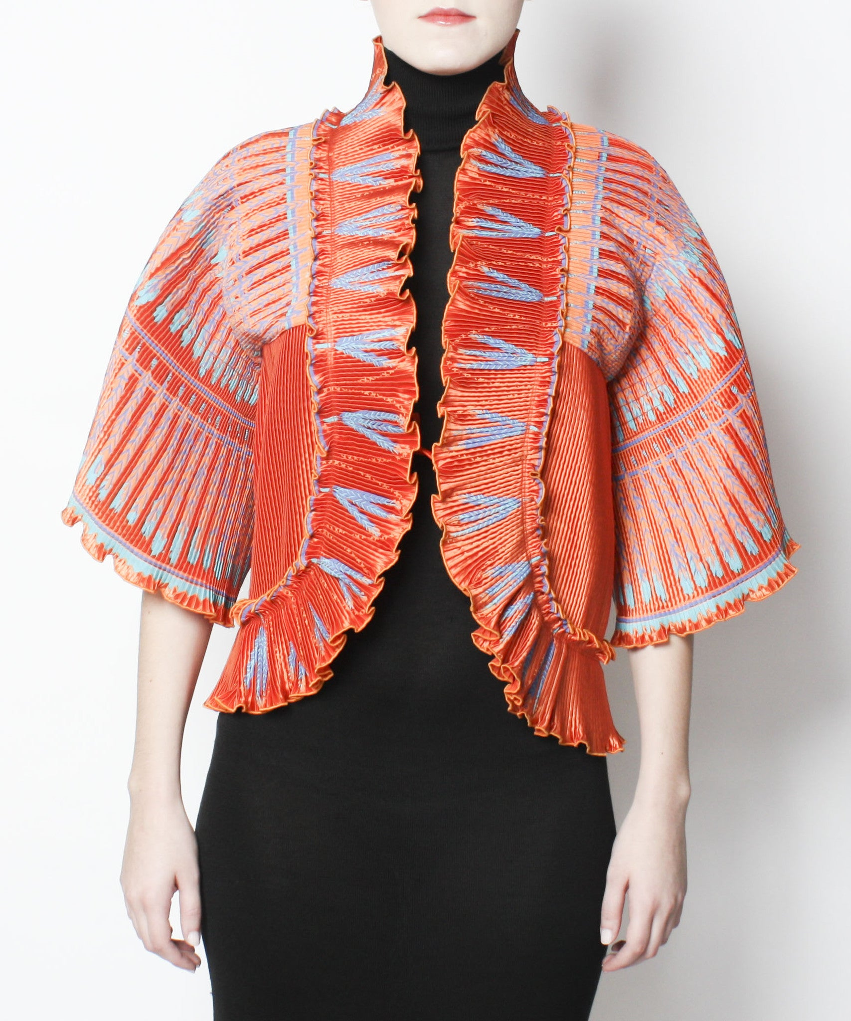 Zandra Rhodes Ayers Rock Collection 1980s Silkscreened Pleated Jacket