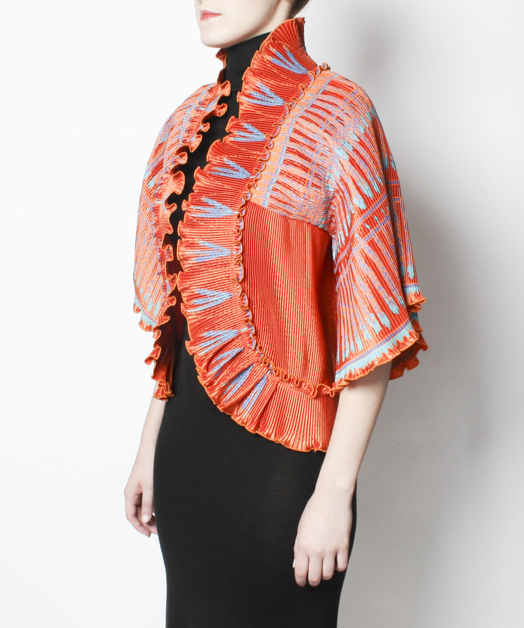 Zandra Rhodes Ayers Rock Collection 1980s Silkscreened Pleated Jacket - C.Madeleine's