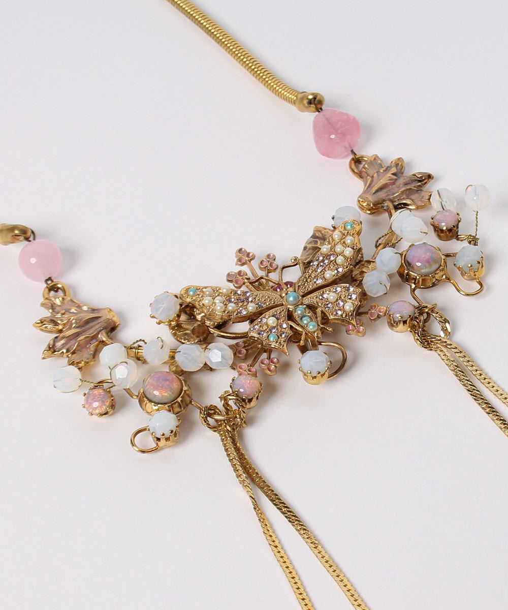 M. PROGRESS- Ornella Bijoux Gold Tone with Opal & Quartz Stones Butterfly Dangles Necklace - C.Madeleine's