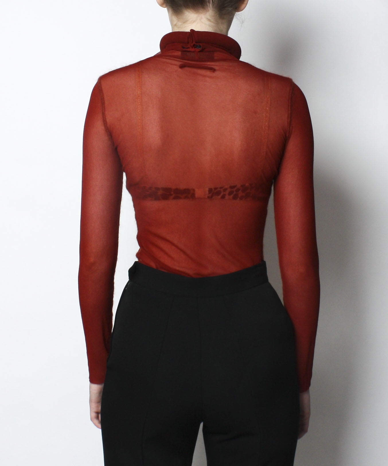 Jean Paul Gaultier Rust Mesh Top With Rolled Magnetic Turtle Neck - C.Madeleine's