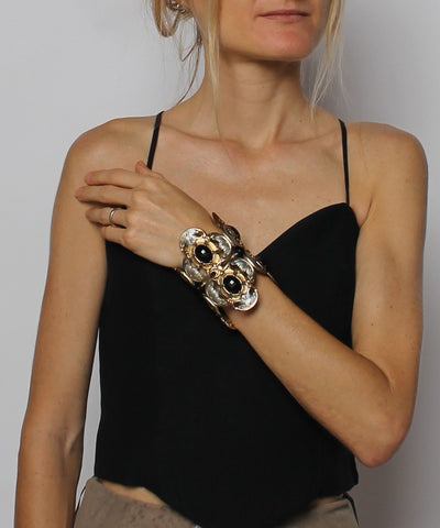 Ornella Bijoux Silver & Gold and Silver Tone Filigree Cuff with Black Faceted Stones - C.Madeleine's