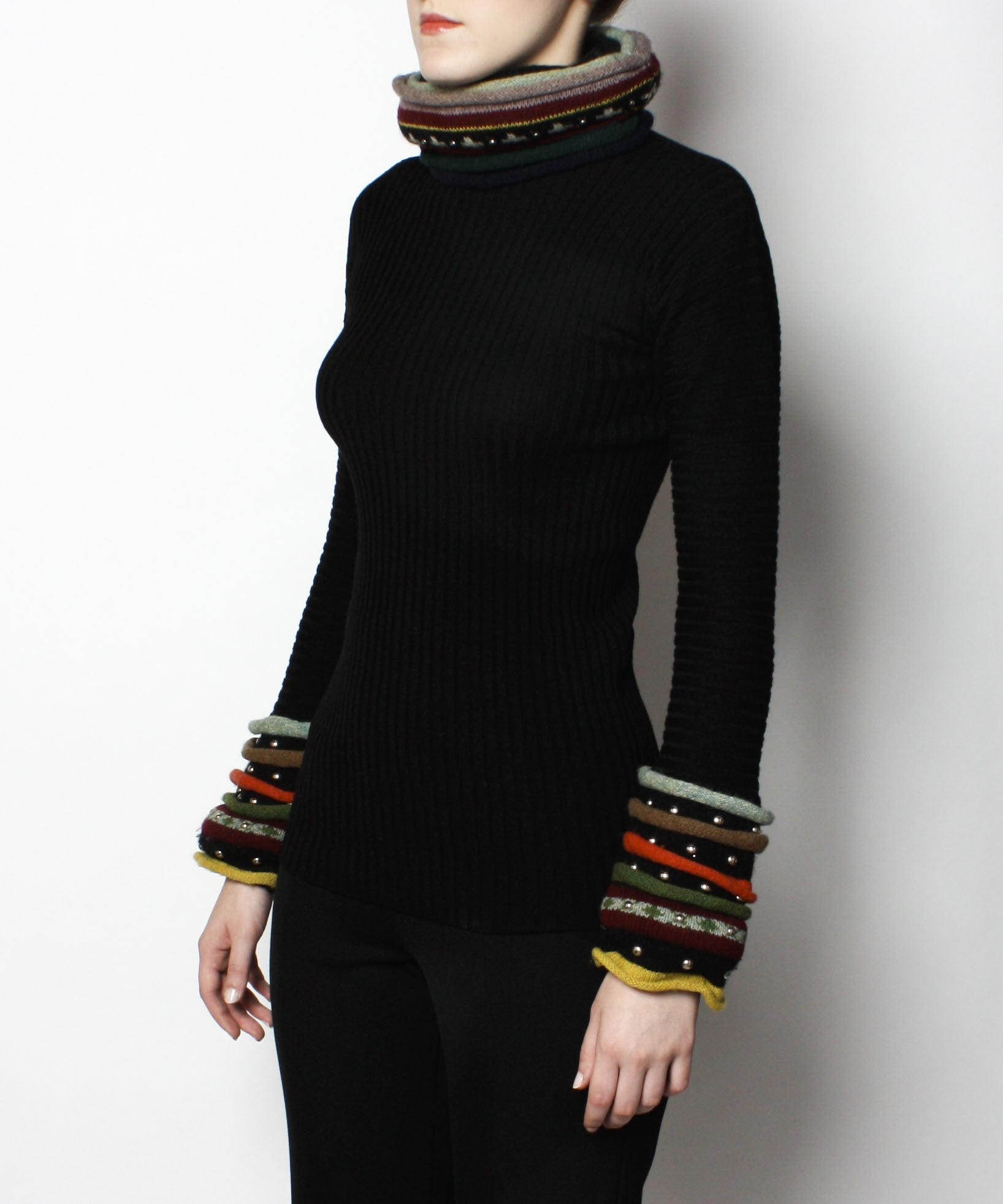 Jean Paul Gaultier Black Sweater with Over Sized Turtleneck