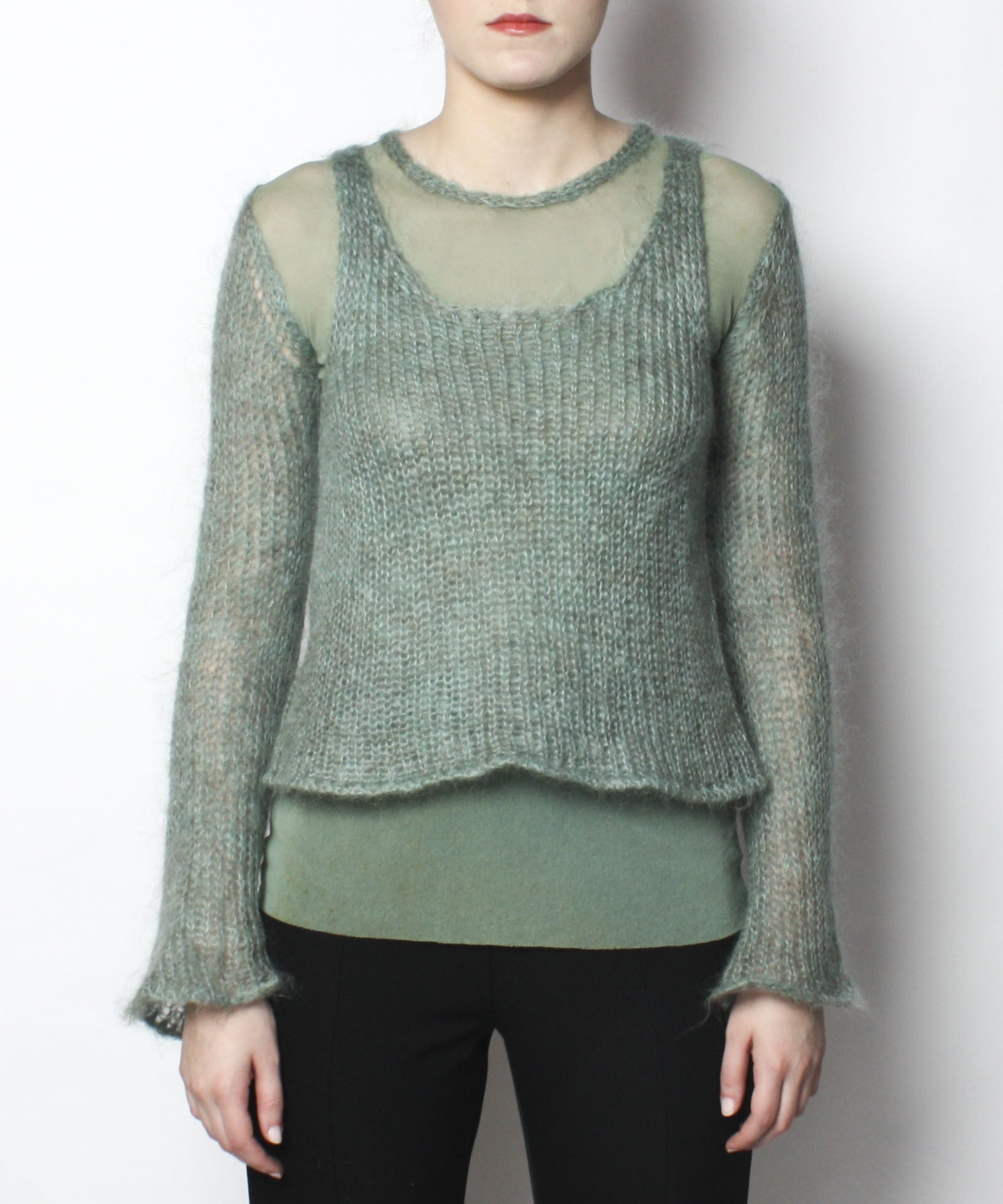 Jean Paul Gaultier Sea foam Green Sheer Knit Shirt with Knit Shell and Scarf Set - C.Madeleine's