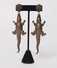 1980s Copper Color Hanging Alligator Earrings - C.Madeleine's