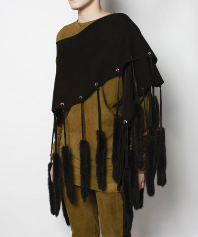 Brown Suede Cape With Mink Tails - C.Madeleine's