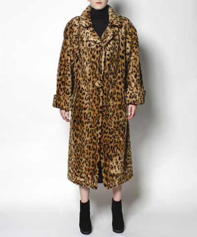 1980s Faux Fur Leopard Long Oversized Coat - C.Madeleine's