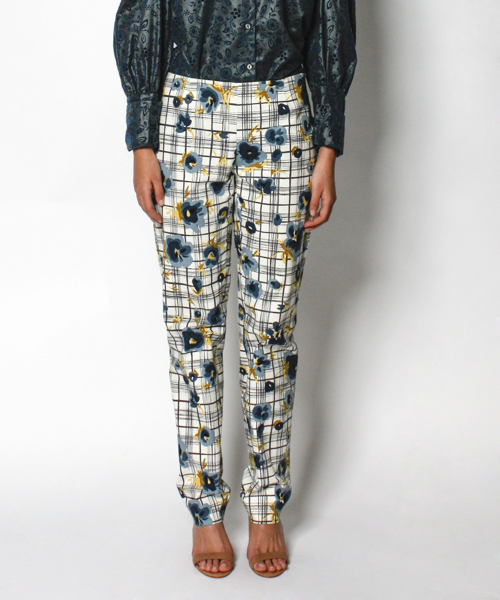Moschino Plaid and Floral Print Cotton Pants - C.Madeleine's