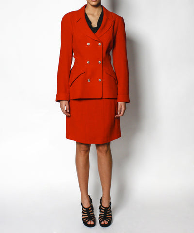 Thierry Mugler Red Double Breasted Wool Skirt Suit