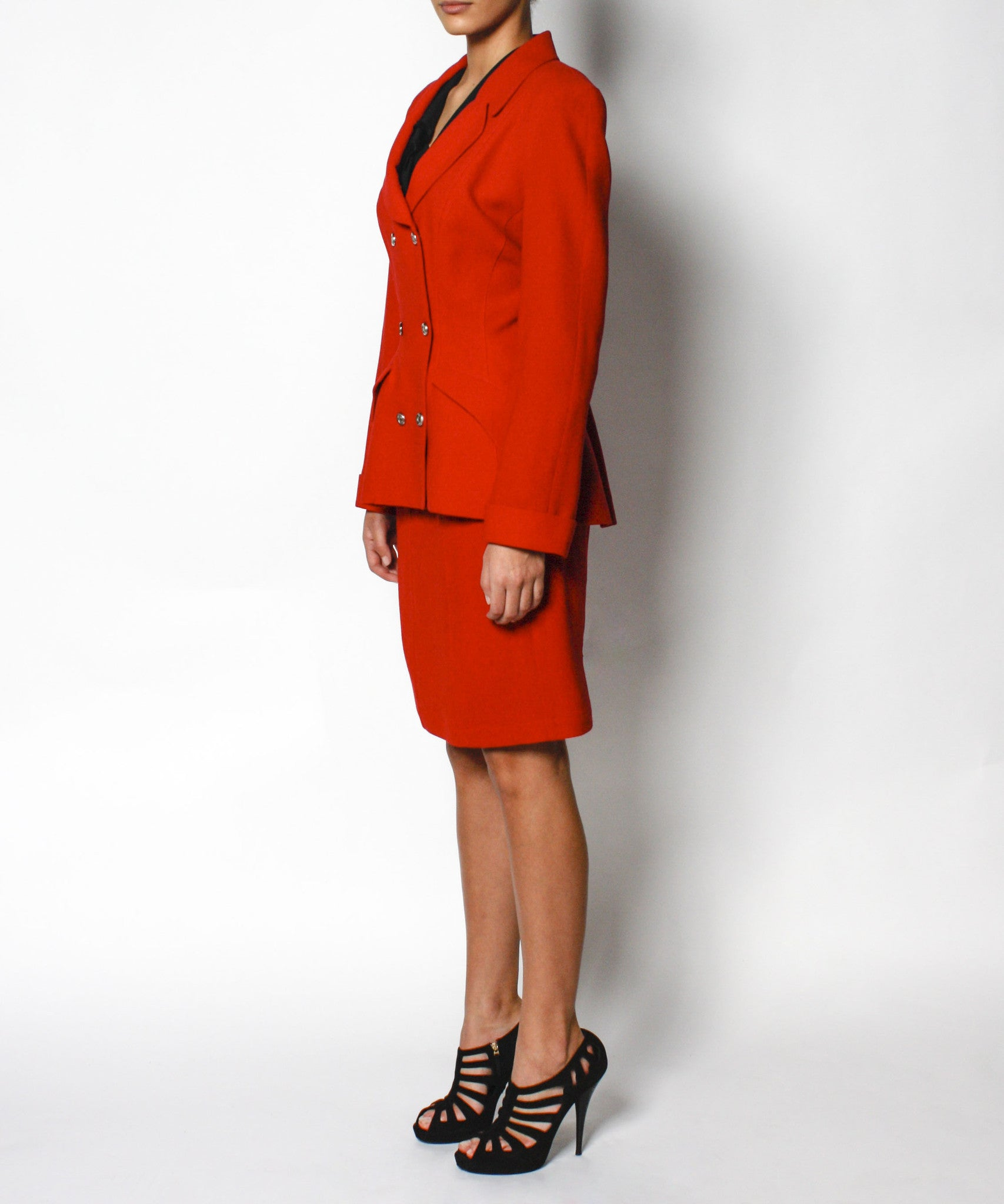 Thierry Mugler Red Double Breasted Wool Skirt Suit - C.Madeleine's
