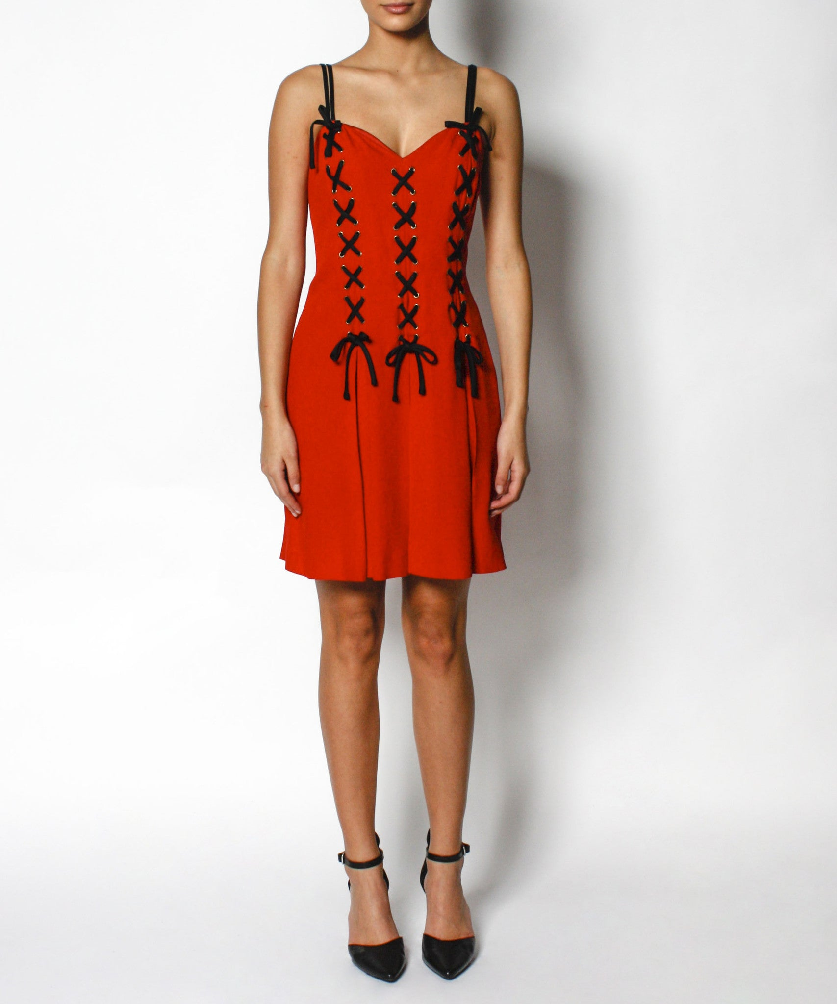 1990s Moschino Red Corset Dress with Black Lacing