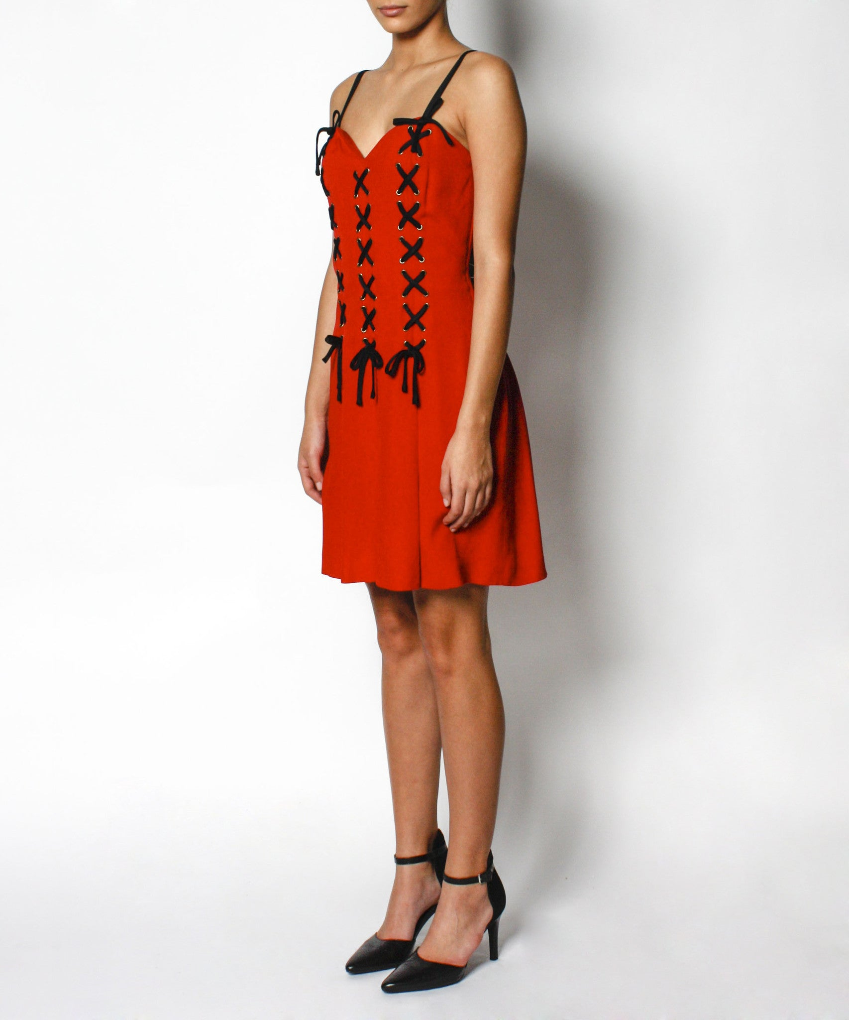 1990s Moschino Red Corset Dress with Black Lacing - C.Madeleine's