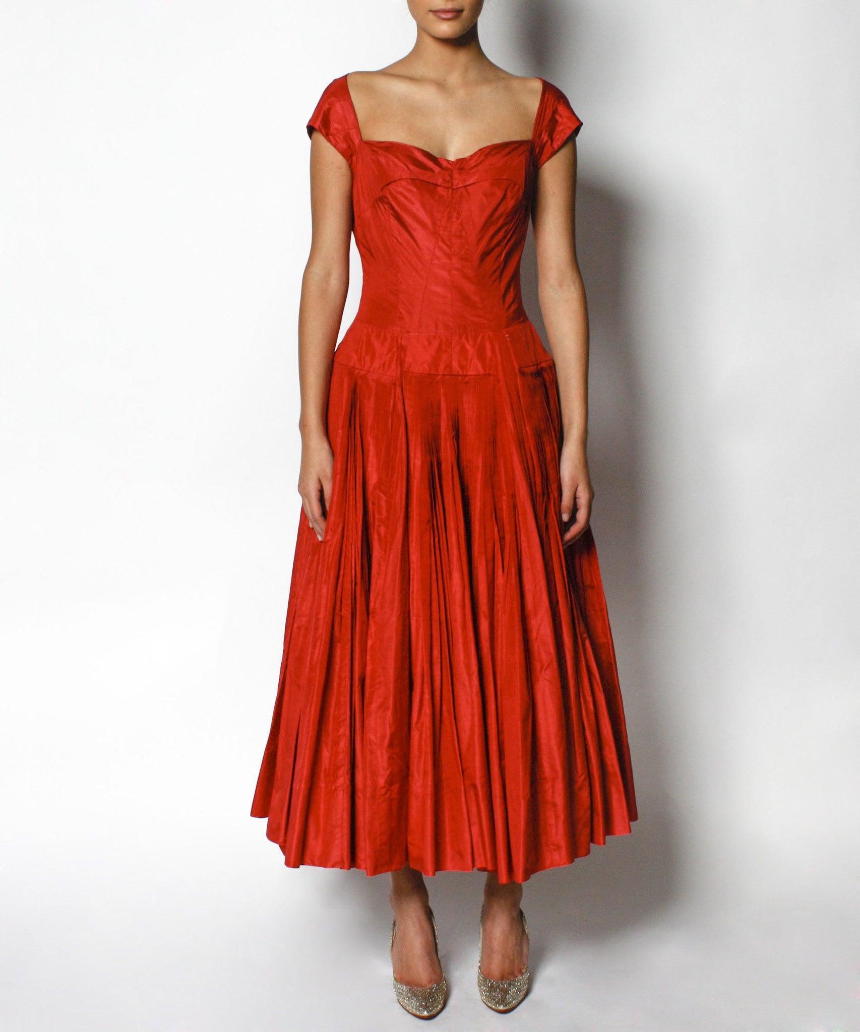 Galanos 1950s Red Silk Satin Dress