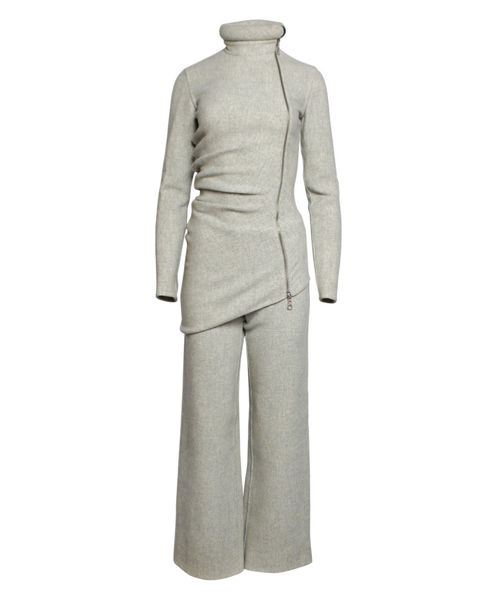 Jean Paul Gaultier Gray Felted Wool With Rolled Neck Zipper Jacket and Pants Set