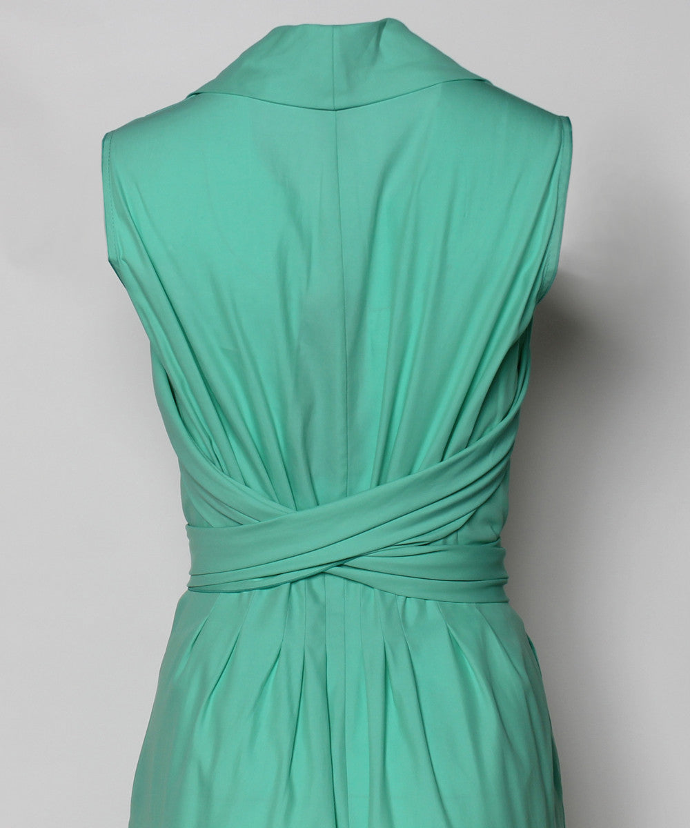 Escada Mint Green Cotton Pleated Wrap Around Belt Dress - C.Madeleine's