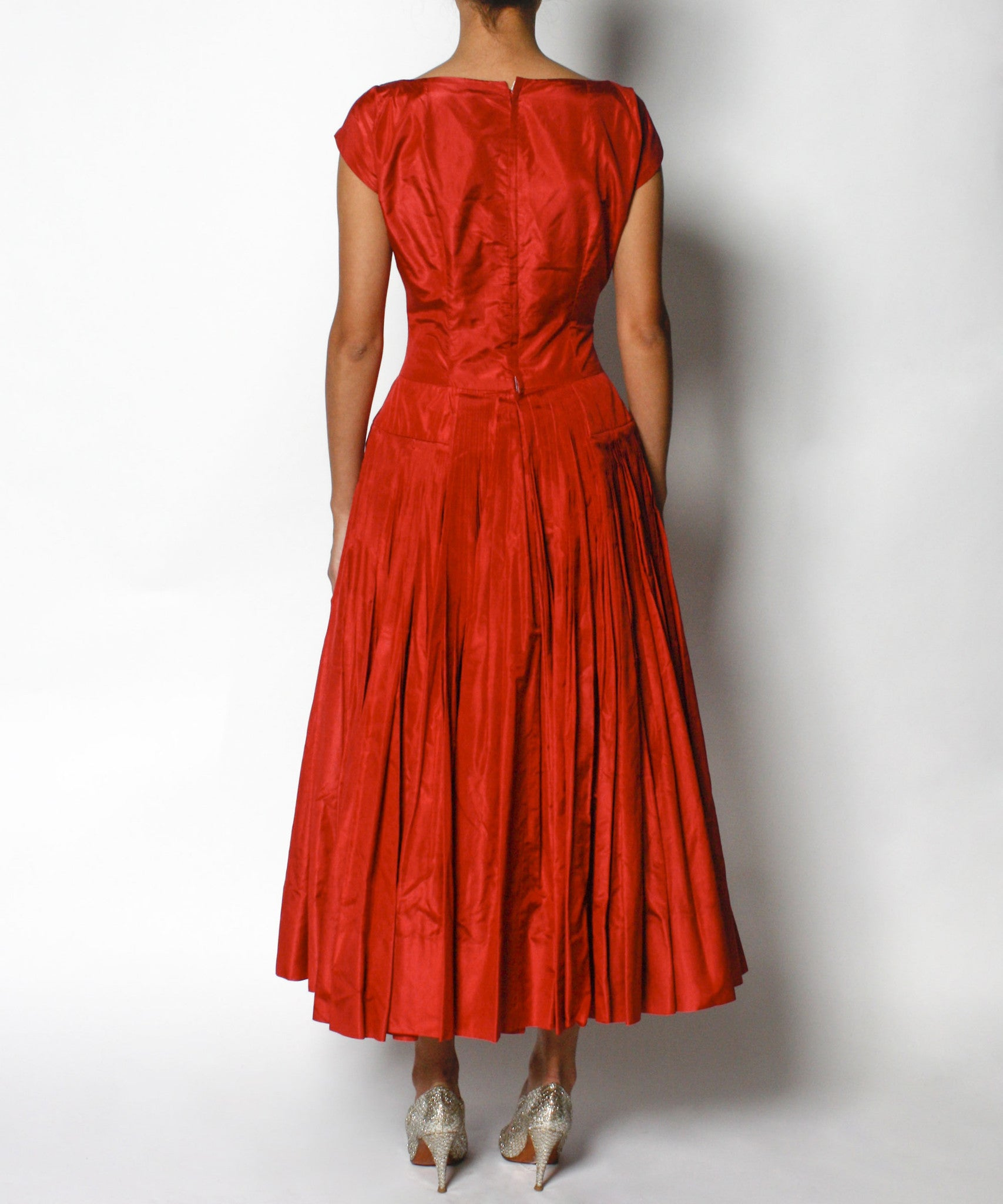Galanos 1950s Red Silk Satin Dress - C.Madeleine's