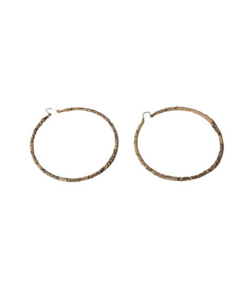 1980s Tan Python Wrapped Hoop Earrings - C.Madeleine's