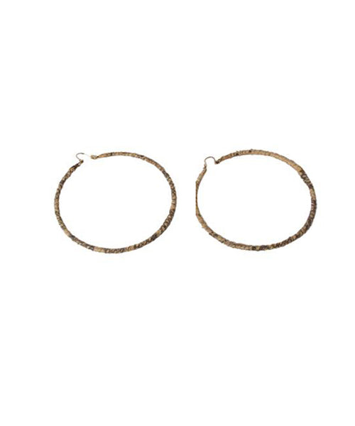 1980s Cream and Taupe Python Wrapped Hoop Earrings - C.Madeleine's