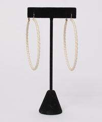 1980s Cream Python Wrapped Hoop Earrings - C.Madeleine's