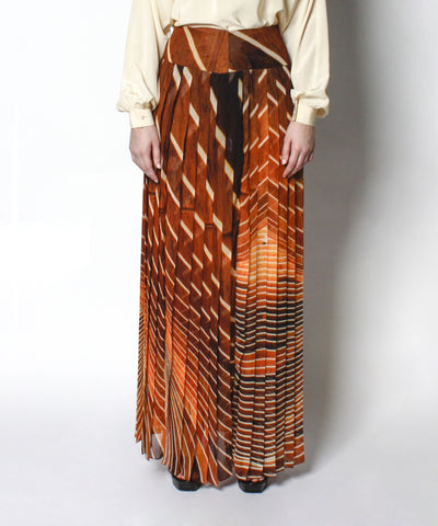 Akris Nature Inspired Print Silk Maxi Skirt