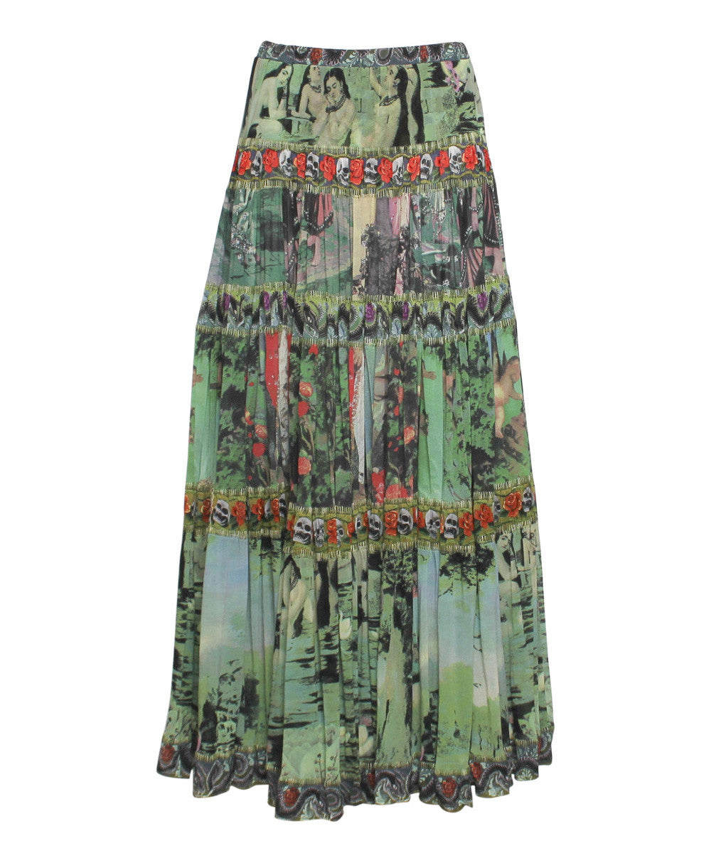 Jean Paul Gaultier Multi Color Mixed Floral and Cherub Print Mesh Maxi Skirt