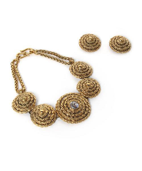 Yves Saint Laurent Gold Tone Coiled Rope Choker with Earrings - C.Madeleine's