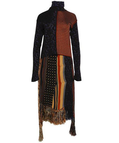 Jean Paul Gaultier Multicolor Knit Turtleneck and Skirt Set - C.Madeleine's