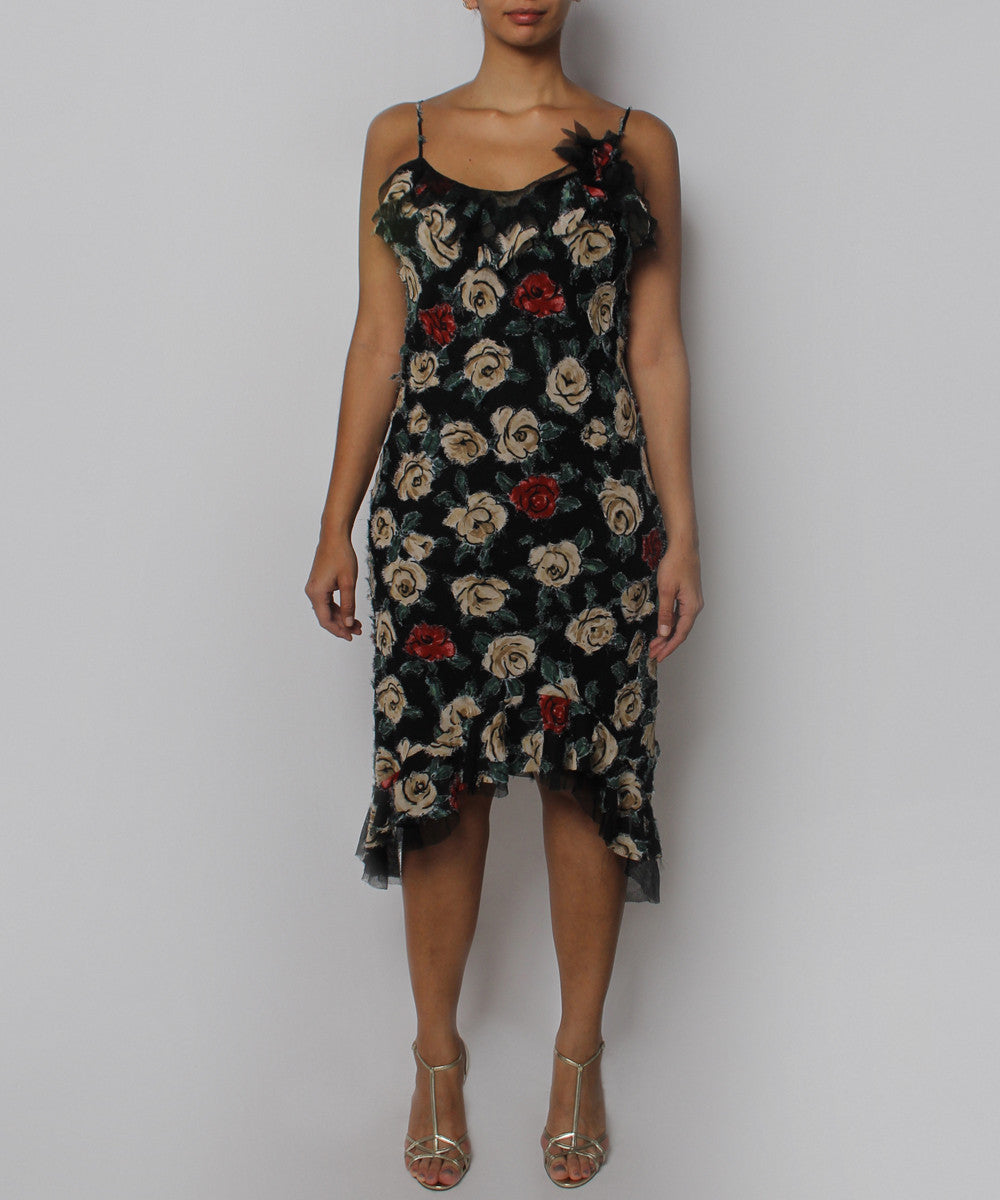 PRINT - Etxart & Panno Black and Roses Slip Dress - C.Madeleine's
