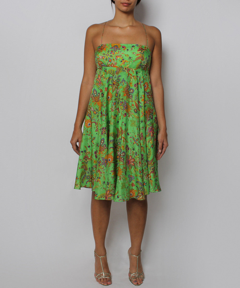 PRINT - Ralph Lauren Green Multicolor Paisley Silk Babydoll Dress - C.Madeleine's