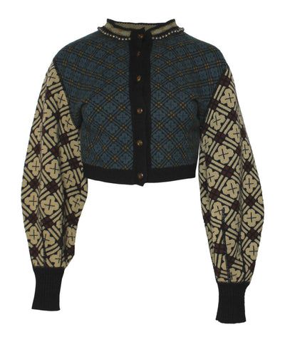Jean Paul Gaultier Printed Wool Knit Cardigan Bell Beaded Neck