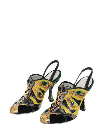 Miu Miu Exotic Embellished Wrap Around Heels