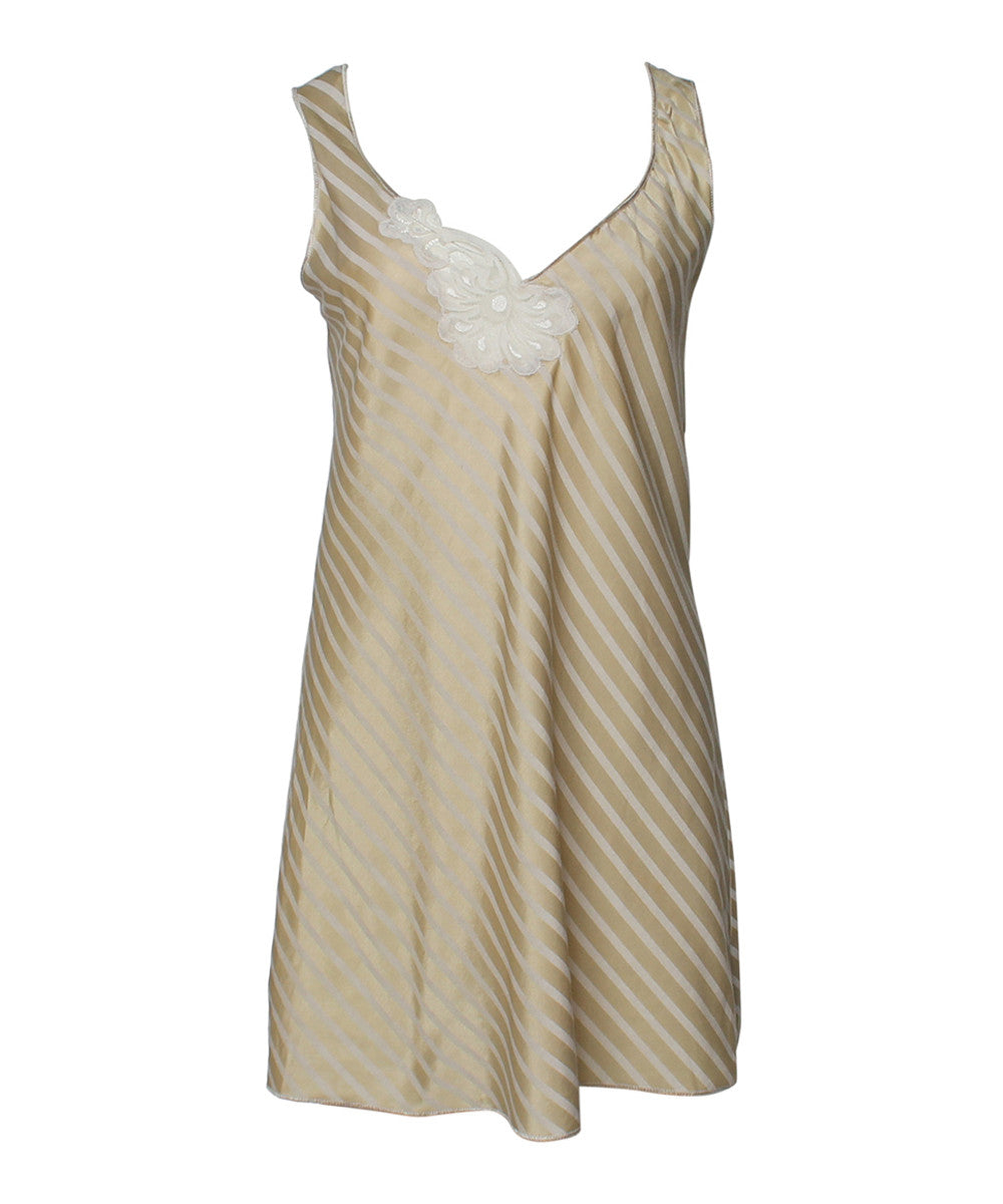 PRINT - Fernando Sanchez Gold and Cream Mini Scoop Dress - C.Madeleine's