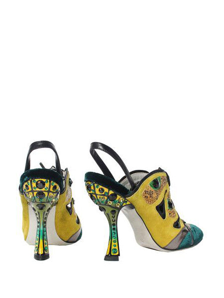 Miu Miu Exotic Embellished Wrap Around Heels - C.Madeleine's