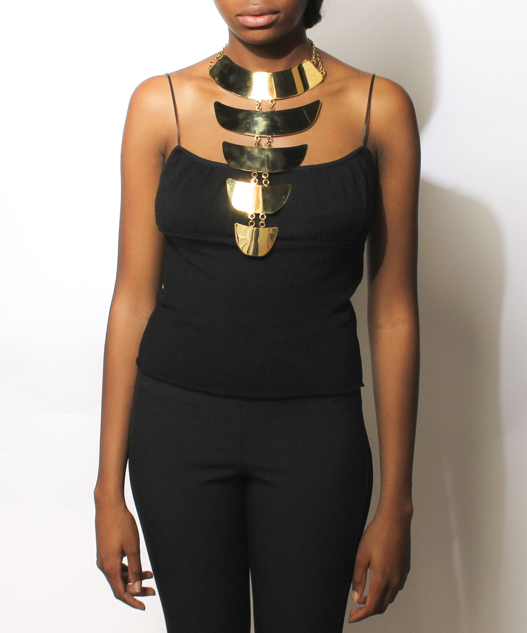 Givenchy Gold Tone Elongated Link Statement Necklace