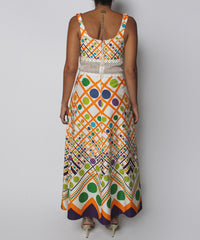 PRINT - 1970s Maxi Multicolor Geometric Print Crochet Waist Dress - C.Madeleine's