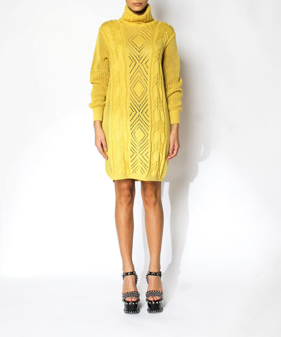Versace 1990s Yellow Sweater Dress