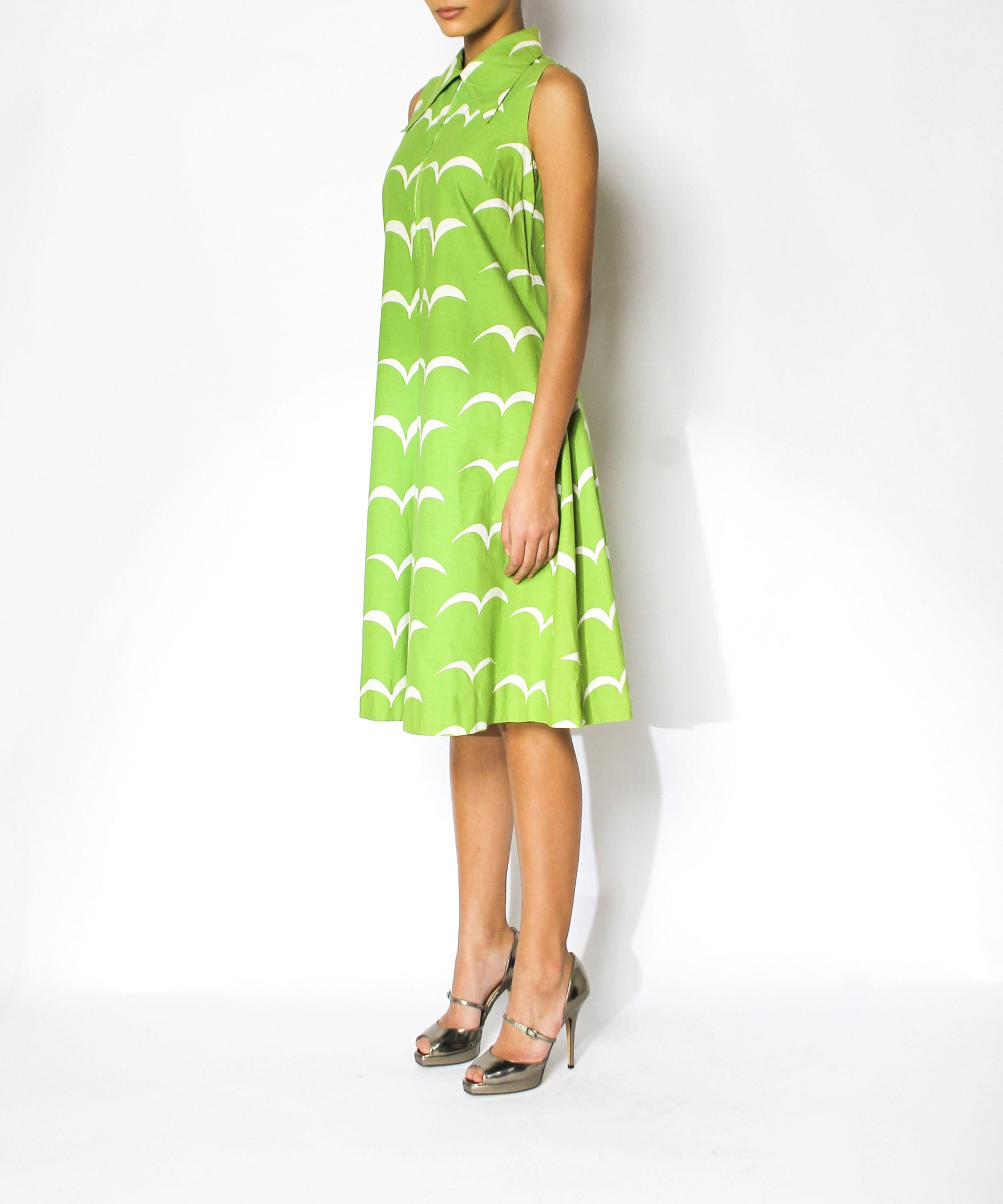 Marimekko 1974 Lime & White Print Shift Dress - C.Madeleine's