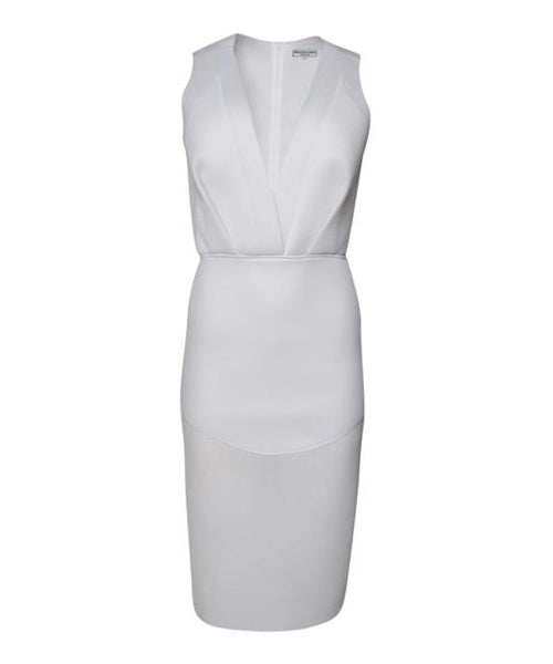 Fernando Garcia White Spacer Mesh V-Neckline Sheath Dress - C.Madeleine's