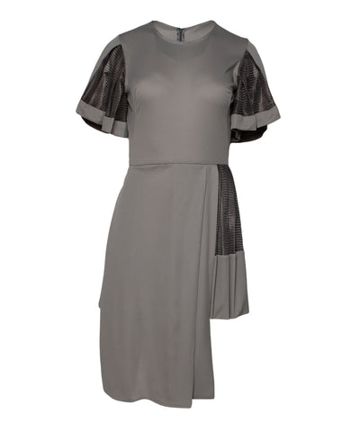 Fernando Garcia Bronze Mesh Bow Front Dress